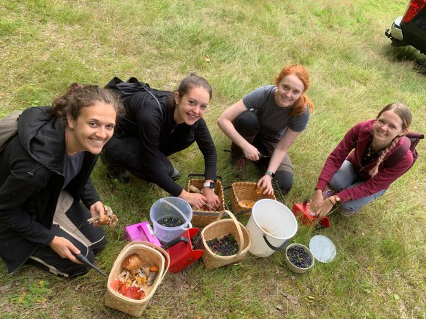 Baskets full of berries after a successful day of field work.